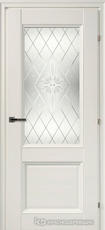 Дверь Краснодеревщик 33 24Ф (стекло Роса) с фурнитурой, Белый CPL