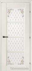 Дверь Краснодеревщик 33 40Ф (цветное стекло) с фурнитурой, Белый CPL