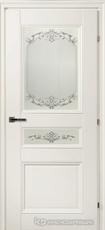 Дверь Краснодеревщик 33 44Ф (стекло Денор) с фурнитурой, Белый CPL